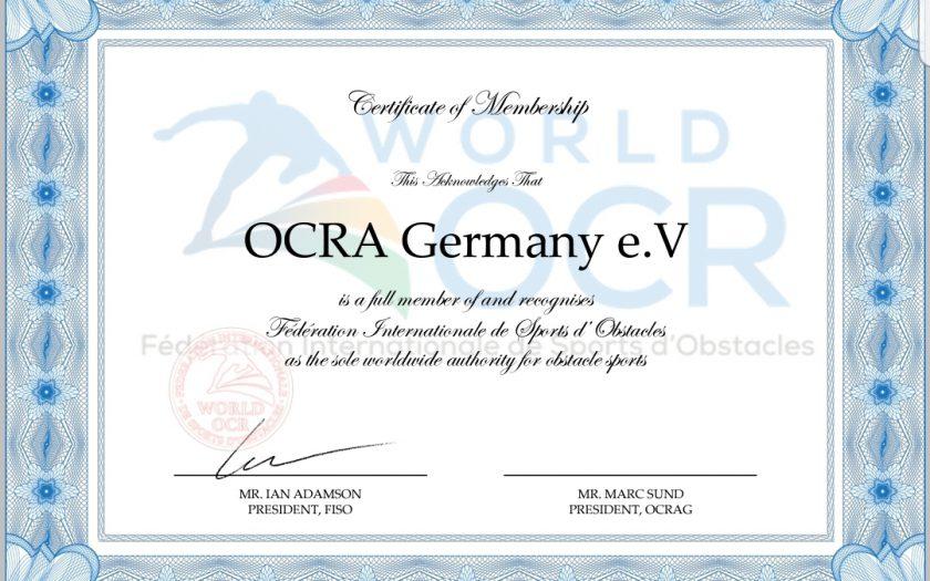 Zertifikat zur Anerkennung der OCRA Germany durch die FISO